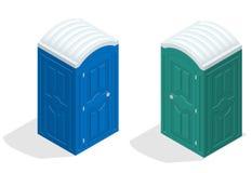 Равновеликая био кабина туалета Синь и зеленый цвет Пешие обслуживания Плоский значок вектора стиля цвета иллюстрация вектора
