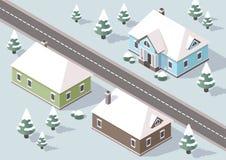 Равновеликая деревня на зиме иллюстрация штока
