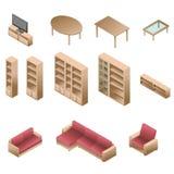 Равновеликая деревянная мебель для живущей комнаты Стоковая Фотография