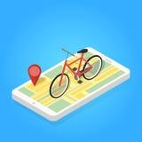 Равновеликая иллюстрация велосипеда карты телефона Стоковые Фото
