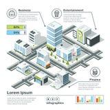 Равновеликая карта города 3d Иллюстрация вектора Infographic Габаритный план Стоковые Фотографии RF