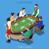 Равновеликая концепция вектора комнаты покера Игрок онлайн Стоковые Изображения