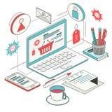 Равновеликая концепция онлайн приобретений Стоковая Фотография RF