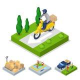 Равновеликая концепция поставки с самокатом и курьером, транспортом перевозки иллюстрация штока