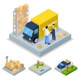 Равновеликая концепция поставки с тележкой, курьером и транспортом перевозки иллюстрация штока