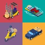 Равновеликая концепция поставки Транспорт перевозки, самокат, грузоподъемник иллюстрация вектора