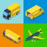Равновеликая концепция поставки Транспорт перевозки самолета авиационного груза, тележка иллюстрация штока