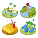 Равновеликая концепция экологичности энергия способная к возрождению Индустрия земледелия Здоровая естественная еда иллюстрация вектора