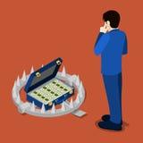 Равновеликая ловушка банка Кредит в банке Бизнесмен думая о кредите бесплатная иллюстрация