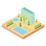Равновеликая проекция здания гостиницы Стоковые Фото