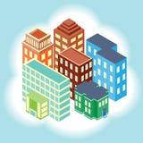 Равновеликая проекция домов в городе Стоковое Изображение RF