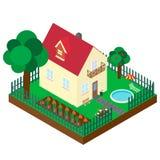 Равновеликая проекция частного дома Стоковые Изображения RF