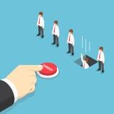 Равновеликая рука бизнесмена нажимая увольнянную кнопку к временному увольнению его em иллюстрация штока