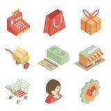 Равновеликие значки покупок иллюстрация штока