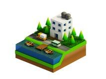 Равновеликие здания, ландшафт, дорога и река города Стоковые Изображения