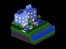 Равновеликие здания города, ландшафт, дорога и река, ноча scen Стоковые Изображения