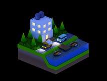 Равновеликие здания города, ландшафт, дорога и река, ноча scen Стоковое Фото