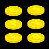 равновеликие монетки вектора 3d на черной предпосылке иллюстрация штока