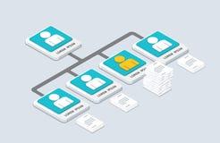 Равновеликие организация и sturcture плоская шипучка-u организации 3d иллюстрация штока