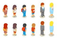 Равновеликие плоские студенты и учитель школы 3d иллюстрация вектора