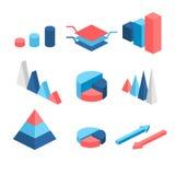 Равновеликие плоские infographic элементы 3D с значками данных и элементами дизайна Долевая диограмма, диаграммы слоев и пирамида иллюстрация штока