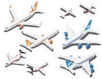 Равновеликие установленные самолеты Частный самолет, 2 реактивных пассажирского самолета и малого самолет с пропеллером иллюстрация штока