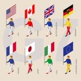 Равновеликие люди с флагами группы в составе G7 7 Стоковая Фотография