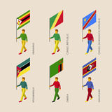 Равновеликие люди с флагами: Зимбабве, Замбия, Мозамбик Стоковое Изображение