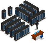 Равновеликий взгляд комнаты сервера иллюстрация штока