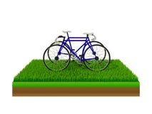 Равновеликий голубой велосипед на зеленой траве Стоковое фото RF