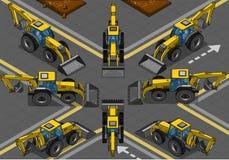 Равновеликий желтый Backhoe в 8 положениях Стоковые Изображения RF