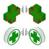 Равновеликий знак больницы или фармации Стоковое Изображение