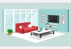 равновеликий дизайн 3d квартиры Vector иллюстрация современного равновеликого интерьера живущей комнаты Стоковое Фото