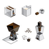 Равновеликий комплект кофе d Стоковые Фотографии RF