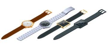 Равновеликий комплект наручных часов на белой предпосылке Время на концепции наручных часов Плоская иллюстрация вектора 3d Стоковое фото RF