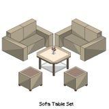 Равновеликий комплект таблицы софы Стоковые Изображения RF