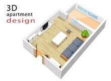 равновеликий план здания 3d для квартиры Vector иллюстрация современного равновеликого интерьера живущей комнаты иллюстрация вектора