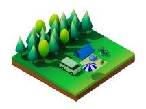 Равновеликий располагаться лагерем леса Стоковое Изображение RF