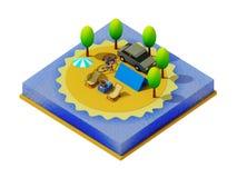 Равновеликий располагаться лагерем на пляже Стоковые Изображения RF