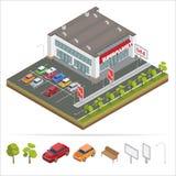 Равновеликий супермаркет car parking Супермаркет города Стоковое Изображение