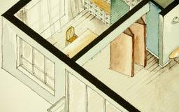 Равновеликий частично архитектурноакустический чертеж акварели плана здания квартиры, символизируя художнический подход к делу не Стоковое фото RF