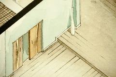 Равновеликий частично архитектурноакустический чертеж акварели плана здания квартиры, символизируя художнический подход к делу не Стоковое Фото