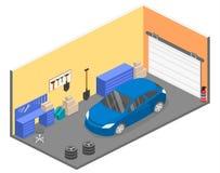 Равновеликое плоское внутреннее место службы 3D в гараже бесплатная иллюстрация