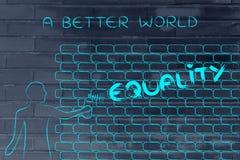 Равность сочинительства человека как граффити стены, caption мир a лучший Стоковые Изображения