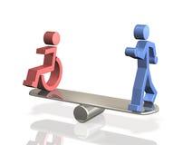 Равные права людей с инвалидностью и способной уплотненной персоны. Стоковое фото RF