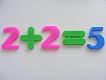 равные 5 плюс 2 Стоковые Фотографии RF
