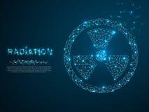 радиация Низкий поли стиль иллюстрации wireframe Изображение вектора полигональное с разрушать формы иллюстрация вектора