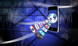 радиотелеграф передвижной сети apps обеспеченный Стоковое Изображение