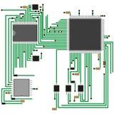 Радиотехнические схемы на доске Технология электроники также вектор иллюстрации притяжки corel Стоковые Изображения