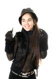 Радостная девушка в перчатках с когтями. Изолировано стоковые фотографии rf
